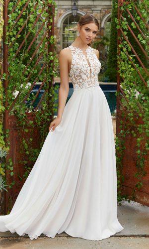 00c8b1acaa3f Mori Lee 5703. Polina Features a Clear Crystal and Pearl Beaded Embroidery  on Net Bodice with A-Line Chiffon Skirt and Waistband.